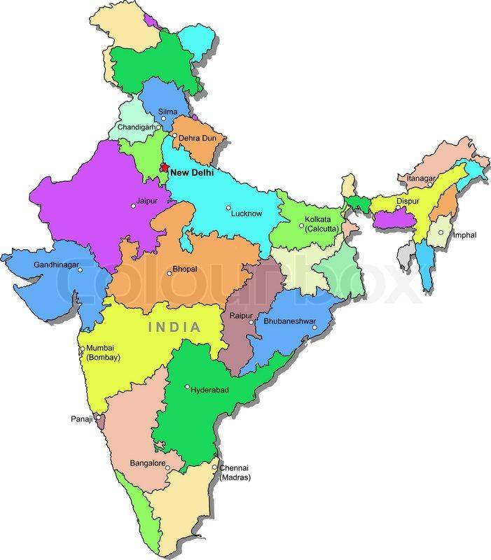 Indien Kort Stock Vektor Colourbox