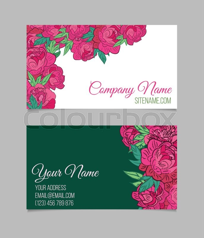 Double sided floral business card template with peonies on white and double sided floral business card template with peonies on white and green backgrounds stock vector colourbox cheaphphosting Gallery
