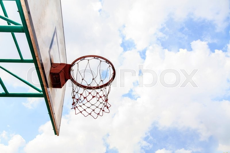 Bottom view of Basketball field goal, stock photo