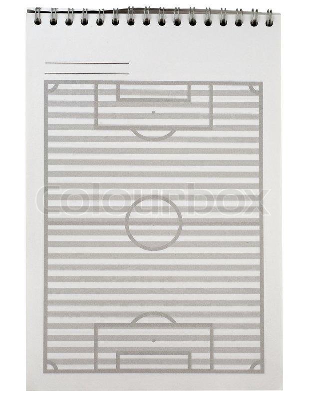 Notizbücher aus Papier Fußballplatz Vorlage auf weißem Hintergrund ...