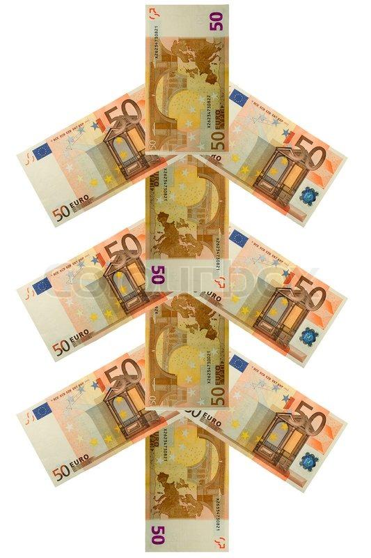 weihnachtsbaum von f nfzig euro banknote stockfoto. Black Bedroom Furniture Sets. Home Design Ideas