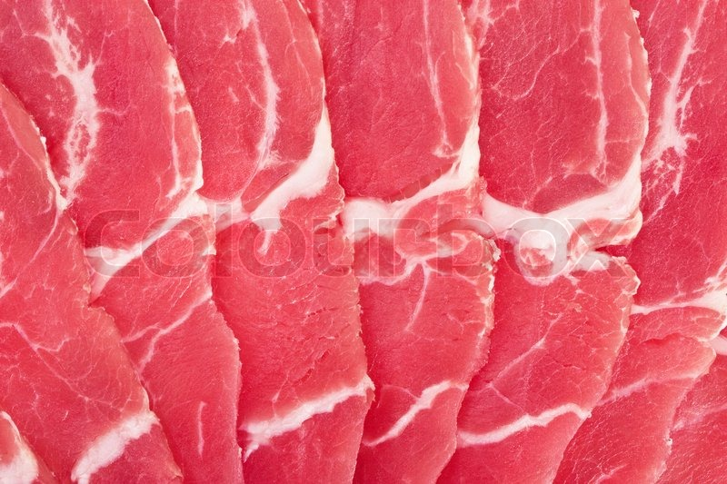 Thin Slices Of Fresh Pork Meat Close Up Stock Photo Colourbox
