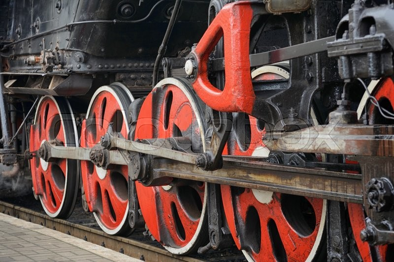 Train drive mechanism and red wheels of     | Stock image