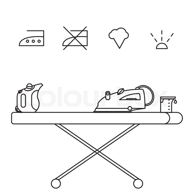 Isolated Iron And Hand Steamer With Symbols On Ironing Board And