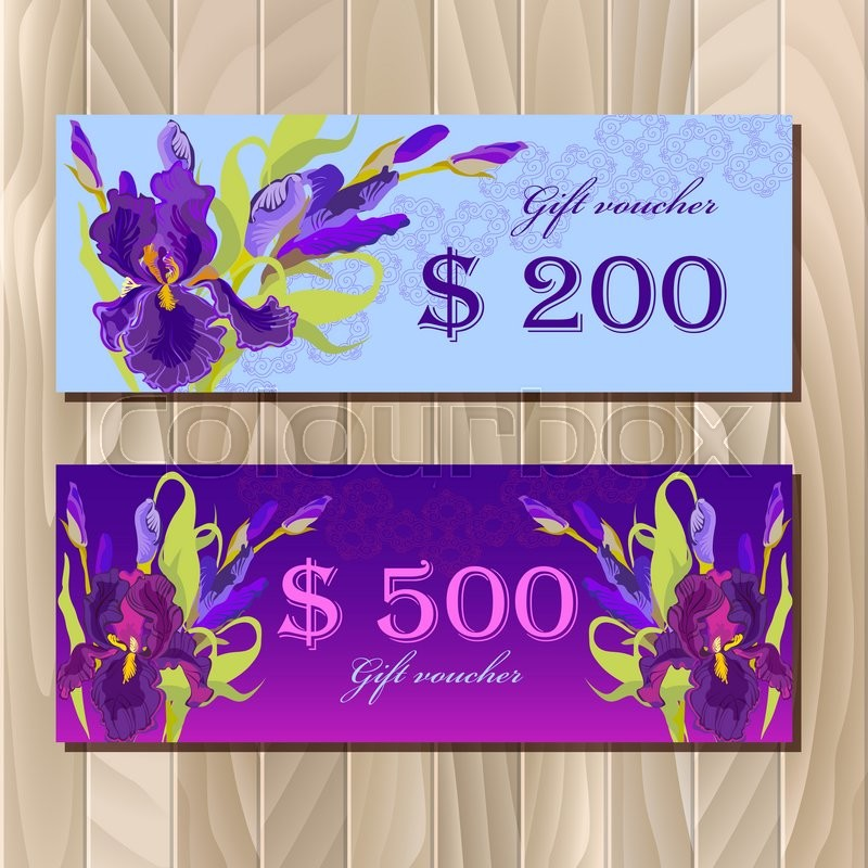 Gift certificate big sale discount card or voucher coupon gift certificate big sale discount card or voucher coupon template with purple iris flowers holiday background mock for banner or ticket pronofoot35fo Choice Image