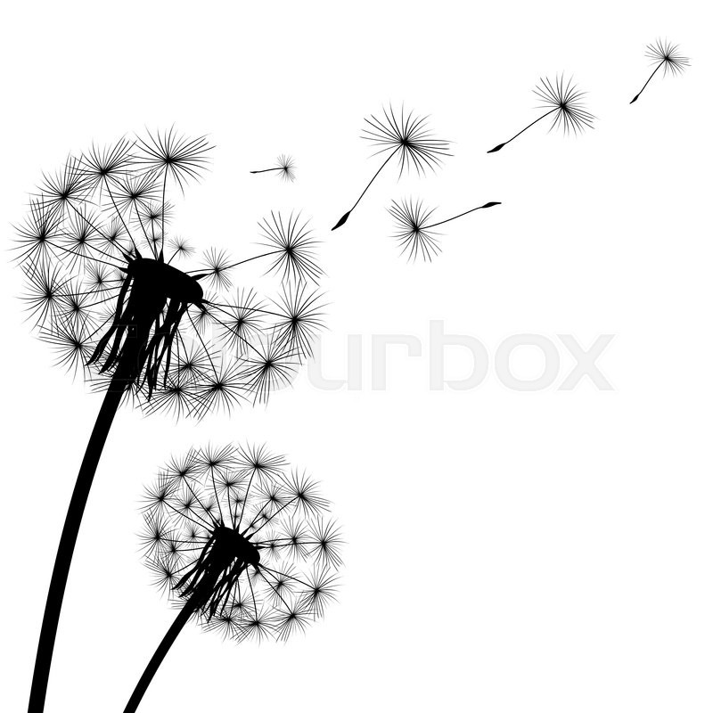 Blowball Text Tattoo: Black Silhouette With Flying Dandelion ...