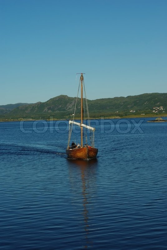 Replica Of Ancient Viking Boat On The Sea Stock Photo