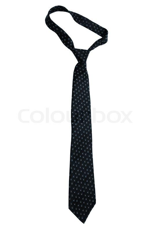 fashionable black necktie on a white background stock photo