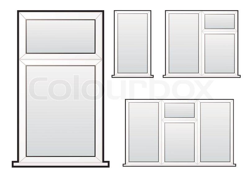 wei er kunststoff doppelt verglaste fenster illustration sammlung konzept vektorgrafik colourbox. Black Bedroom Furniture Sets. Home Design Ideas