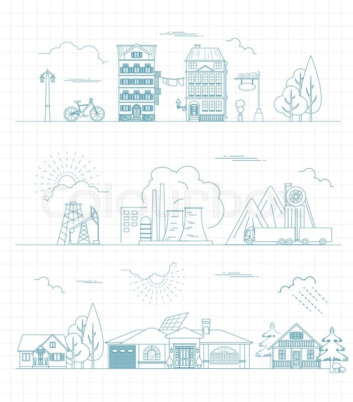 stock vector of great city map creator outline version house constructor house - House Map Creator