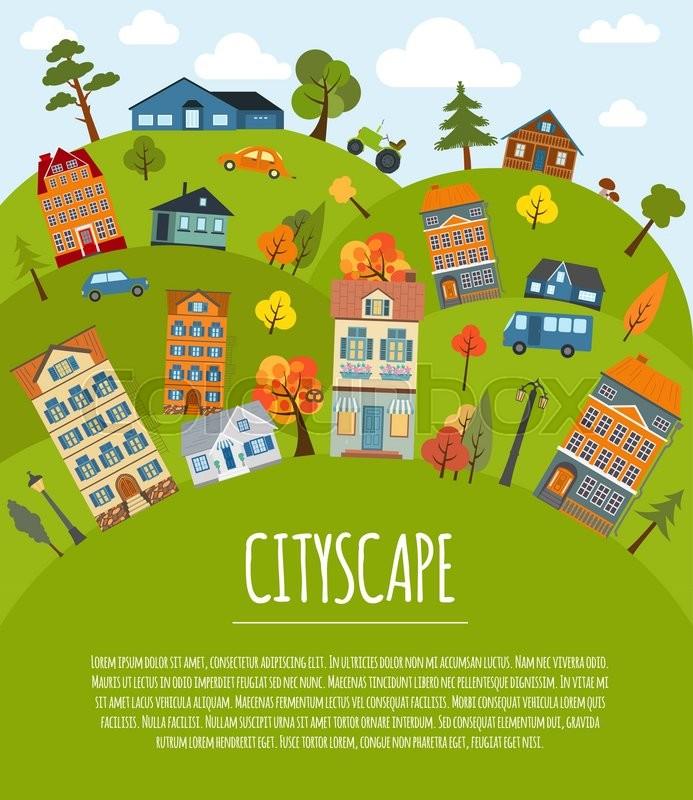 Cityscape Conceptual Graphic Template. Urban, Countryside