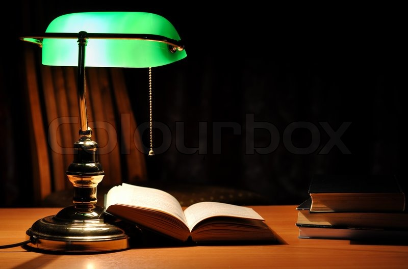 Electric green table lamp and opened book stock photo colourbox electric green table lamp and opened book stock photo mozeypictures Gallery