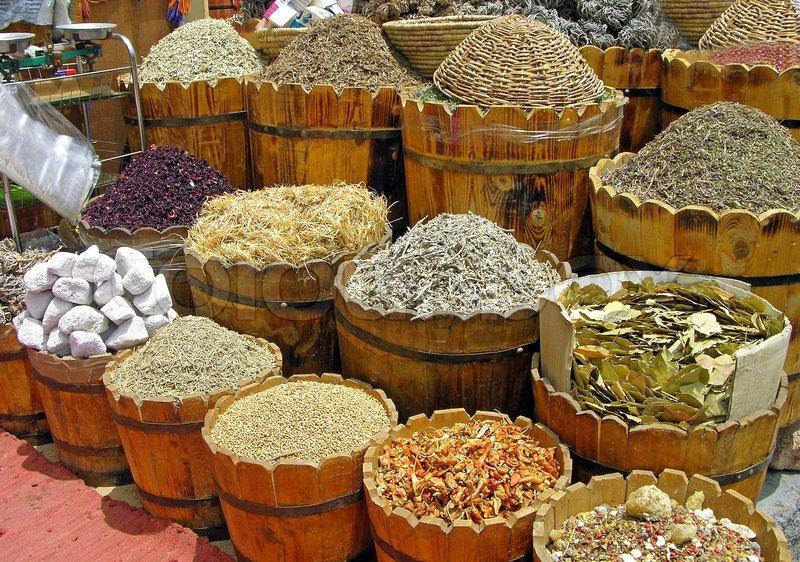 Urter og krydderier sektion på det egyptiske marked | stock foto | Colourbox