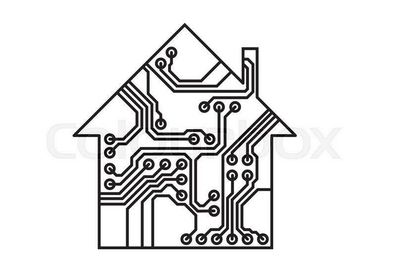 smart household illustration  black