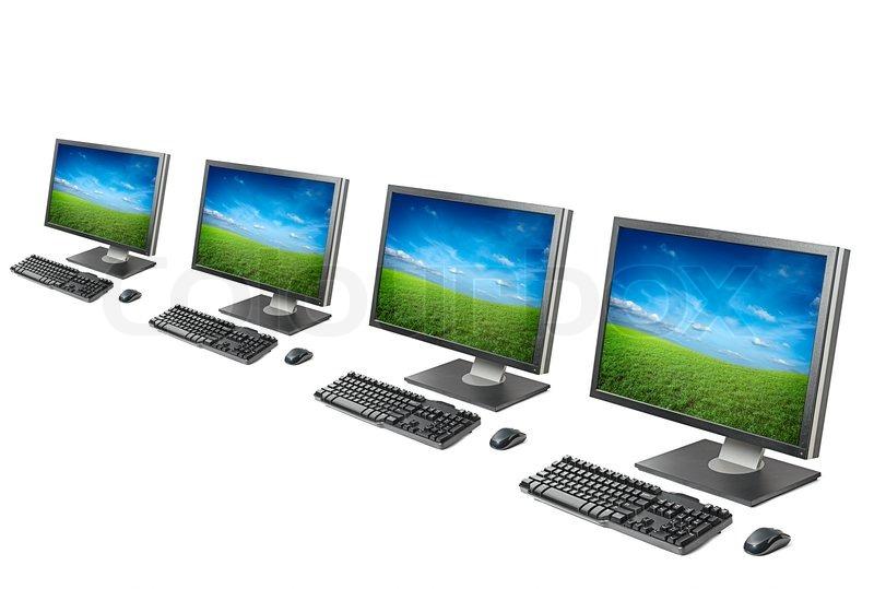 computer arbeitsplatz monitor tastatur maus isoliert auf wei em hintergrund stockfoto. Black Bedroom Furniture Sets. Home Design Ideas