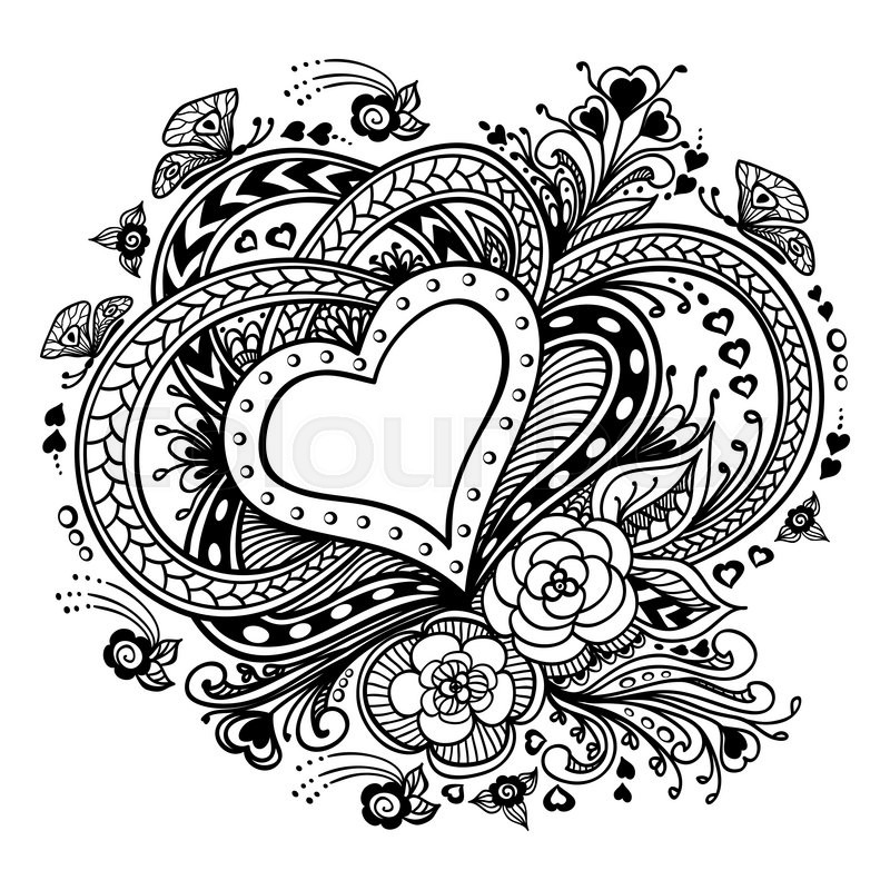 zen art coloring pages - zen doodle heart frame with flowers butterflies black on