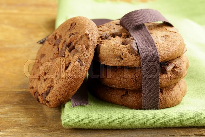 Super chocolate chip cookies - festive meal, stock photo