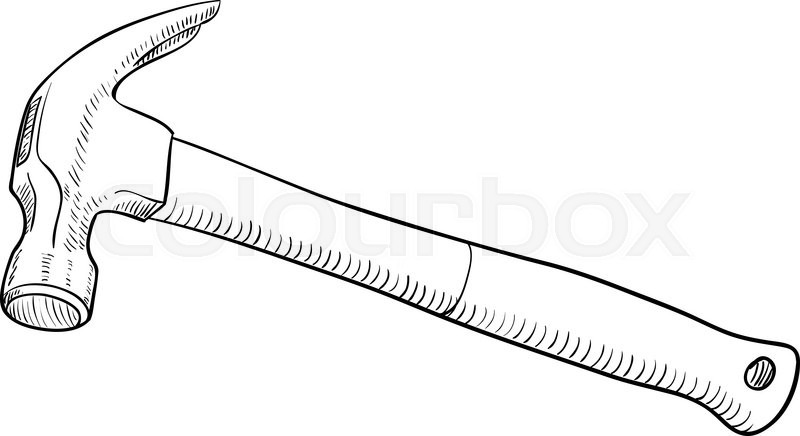 Simple Black And White Line Art : Simple black and white line drawing hammer stock vector