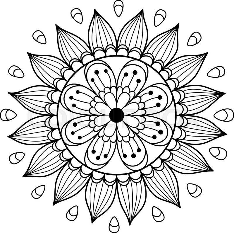 Black And White Vector Floral Mandala Beautiful Flower For Card Coloring Book Or Design Element Hand Drawn