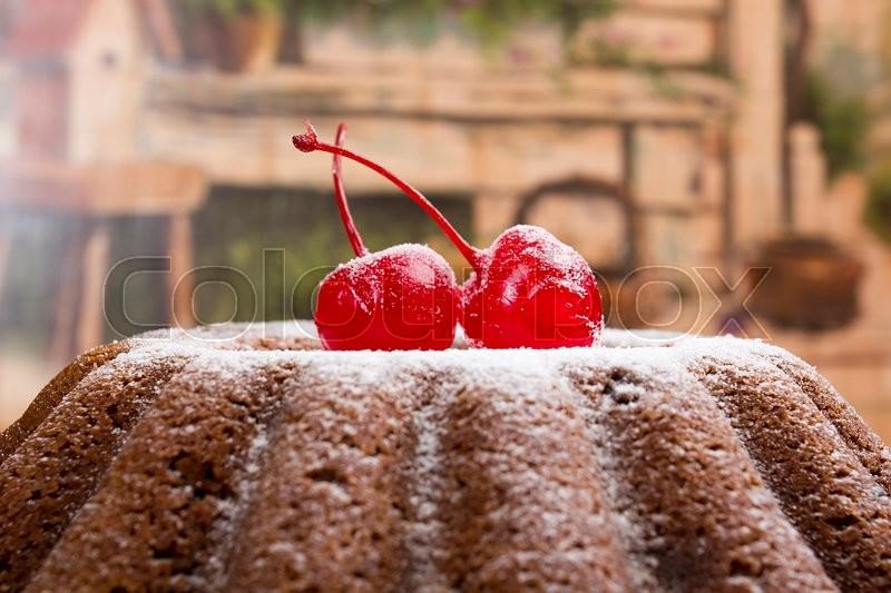 English Christmas Pudding With Cherry Traditional Birthday Cake