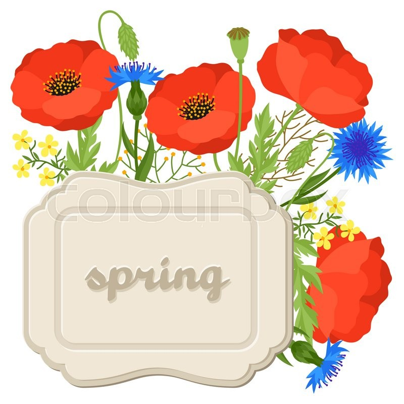 Floral background with pretty spring flowers template for floral background with pretty spring flowers template for invitation and greeting cards stock vector colourbox mightylinksfo
