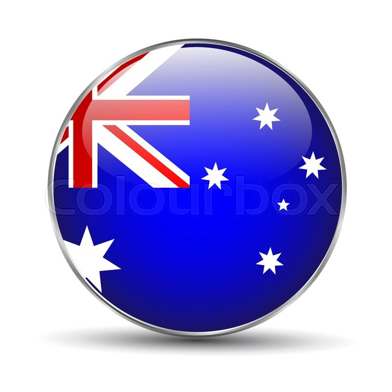 Australia Flag Button Icon On White Background Vector Illustration Stock Vector Colourbox