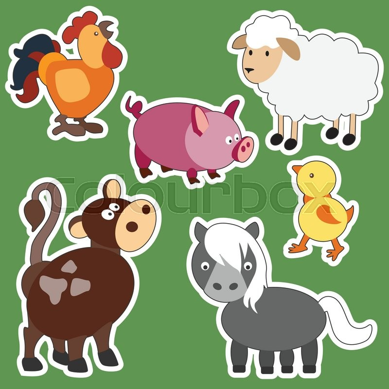 Vector Set of isolated Farm Animals - cow, goat, chicken ...