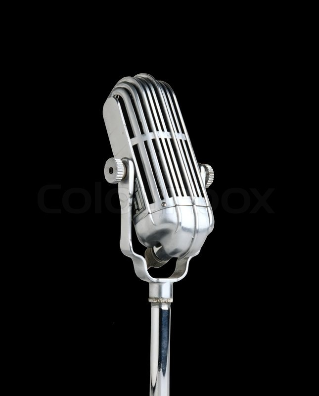 Vintage microphone isolated on black background | Stock ...