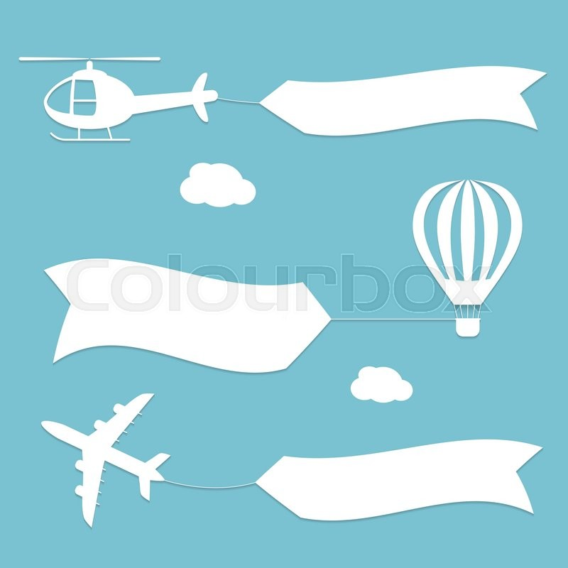 Plane, air balloon and helicopter flying with advertising banners. Planes set banners. Vector white silhouettes. Flat modern design, vector