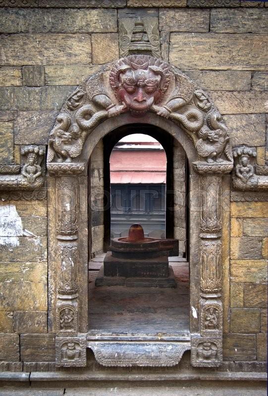 Close up of a shrine in Pashupatinath temple, Khatmandu, Nepal, stock photo