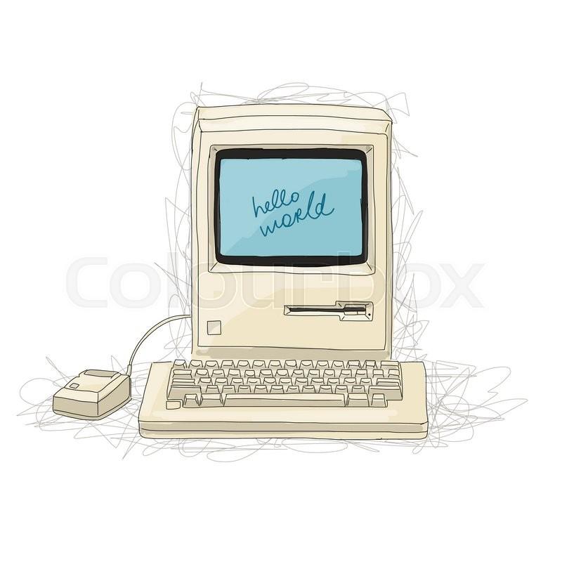 Retro computer, sketch for your     | Stock vector | Colourbox