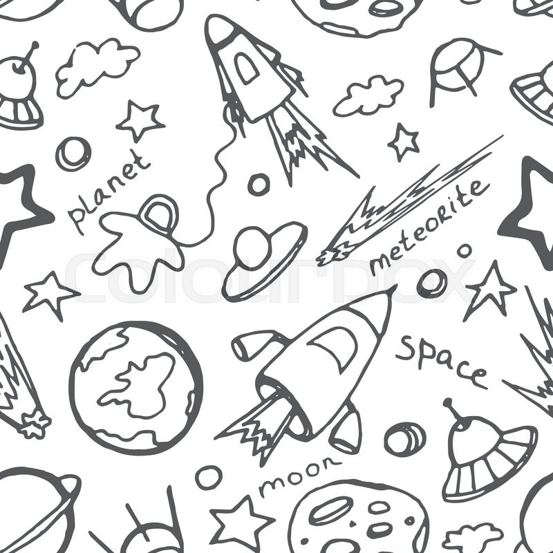 Hand drawn cosmos doodle seamless pattern, excellent vector illustration, EPS 10, vector