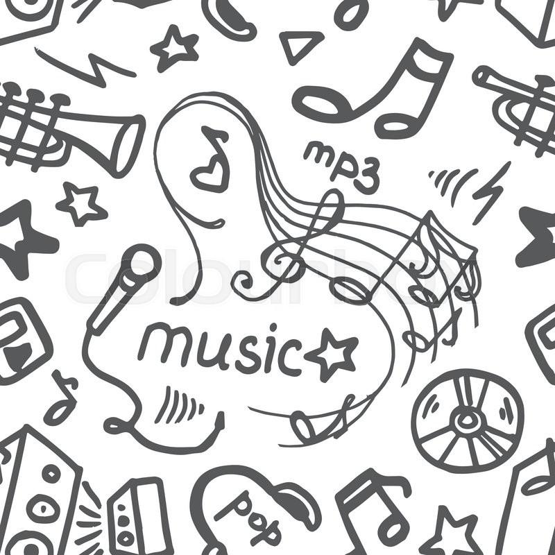 Music Doodle Symbols Seamless Stock Vector Colourbox