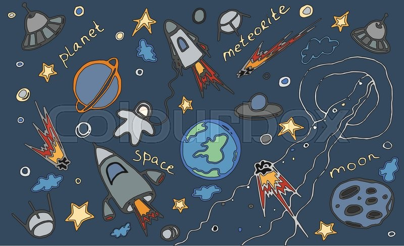 Hand drawn colorful cosmos doodle vector set, excellent vector illustration, EPS 10, vector