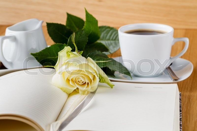Rose and empty notebook page on wood background, stock photo