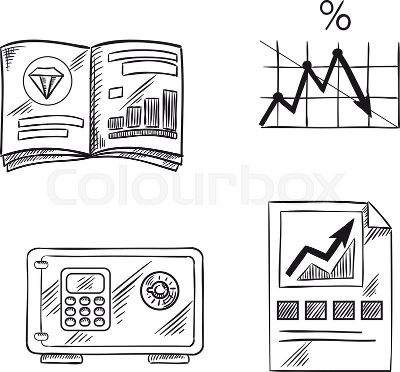 Finance Graph: Finance, Investment And Banking Sketch Icons With