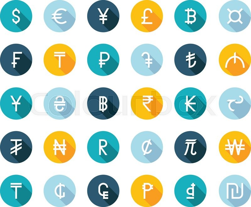 Vector Set Currency Symbols World Money On White Isolated Background