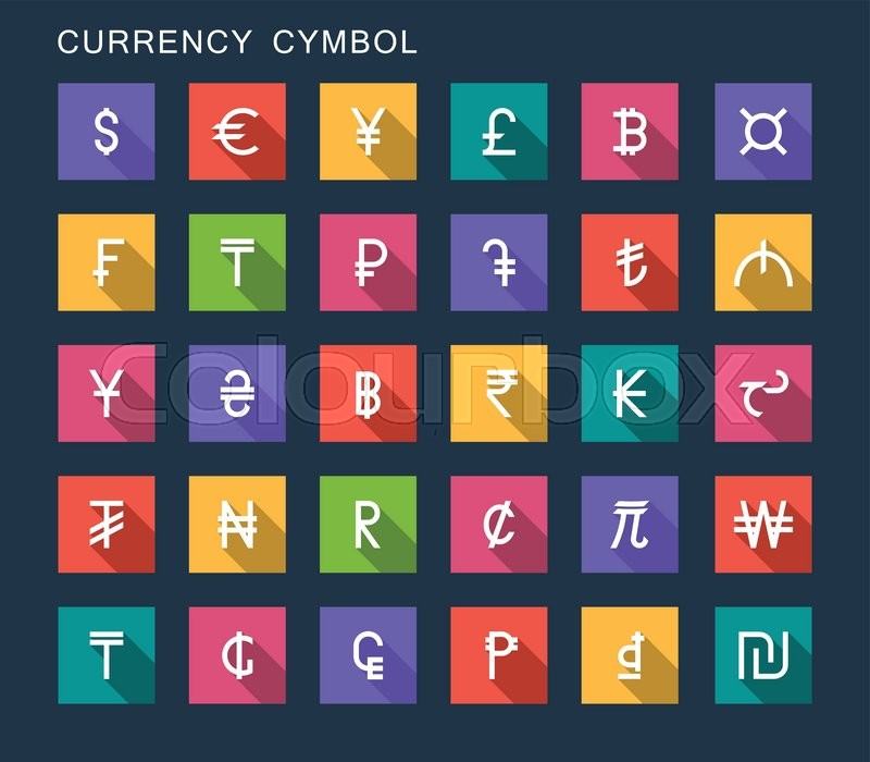 Vector Set Currency Symbols World Money On Dark Isolated Background