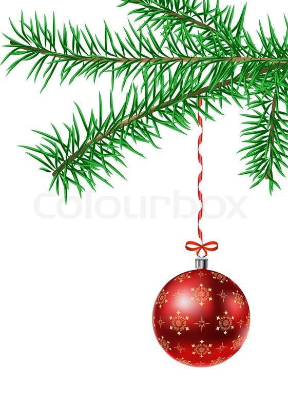 Vektor tanne branck mit weihnachtskugel vektorgrafik colourbox - Grafik weihnachten kostenlos ...