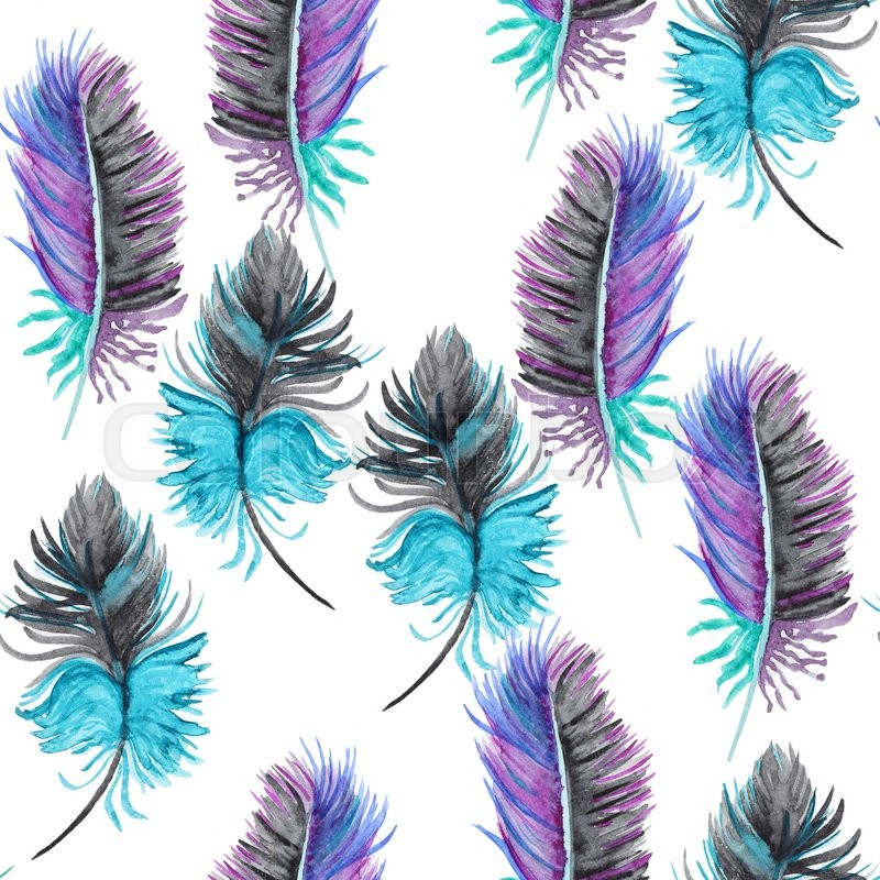 Seamless Watercolor Pattern With Feathers Vintage Paint For Wallpaper Design