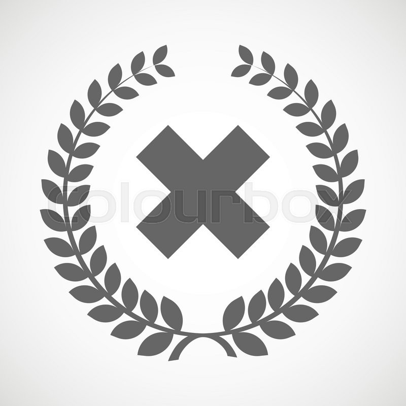 Illustration Of An Isolated Laurel Wreath Icon With An X Sign