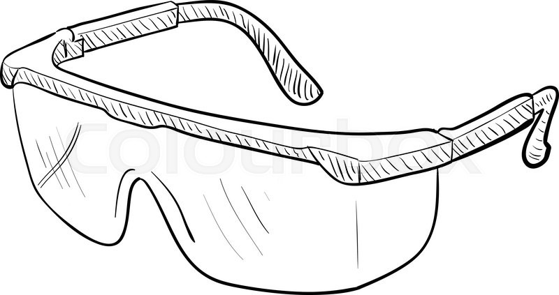 hand drawn vector drawing of a pair of safety goggles stock