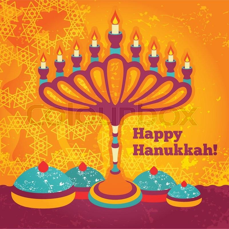 Jewish Holiday Hanukkah elements for design. Happy Hanukkah greeting retro flat card design. Vector illustration, vector