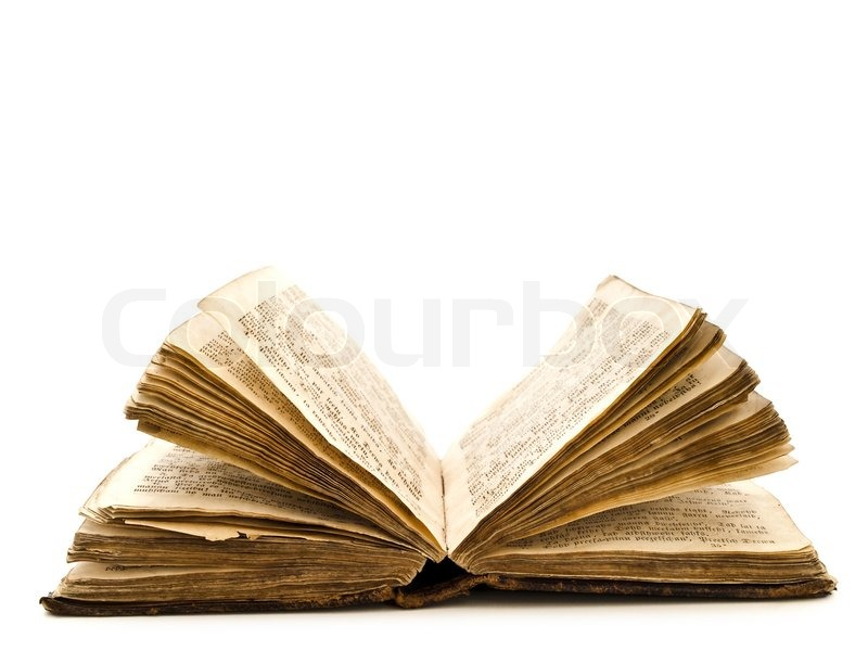 old open book against the white background stock photo colourbox