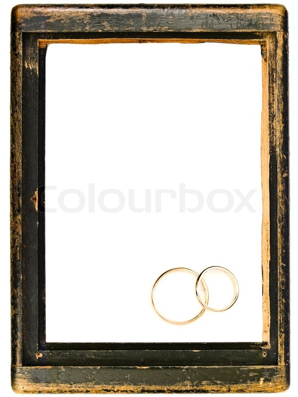 Vintage Wooden Frame And Two Wedding Rings With Copy Space For Your