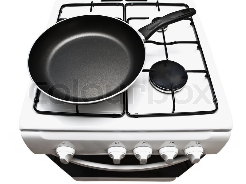 gas stove clipart black and white. frying pan at the white gas stove over background | stock photo colourbox clipart black and