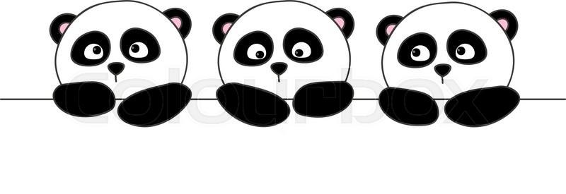 Cute Cartoon Pandas Isolated On White Stock Vector Colourbox