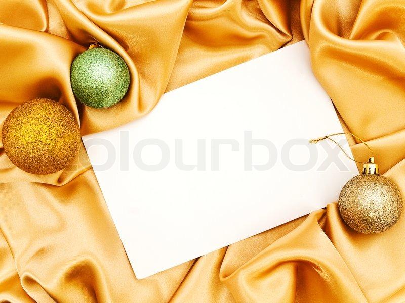 blank weihnachten einladung mit deko kugeln ber goldene. Black Bedroom Furniture Sets. Home Design Ideas