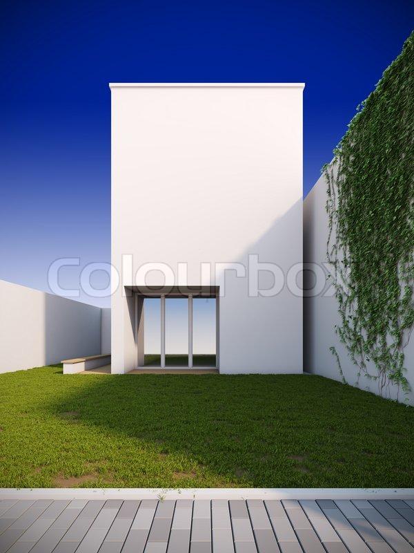 Eine 3d darstellung der modernen haus im minimalistischen for Minimalismus haus tour