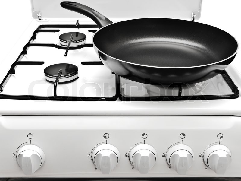 Frying Pan On The White Gas Cooker Stock Photo Colourbox